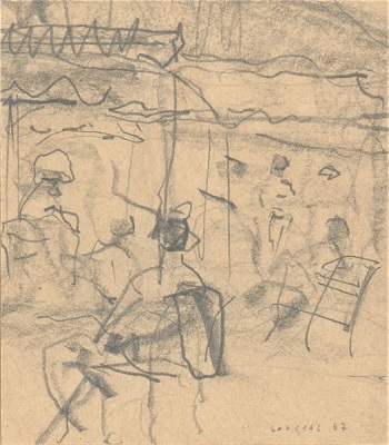 "Summer, 1967, pencil on paper, 8x7cm (3.1""x2.7"")"