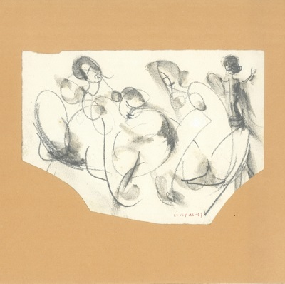 "Summertime, 1967, pencil on paper, 13x7cm (5.1""x2.7"")"
