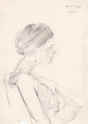 "The artist's wife, 1966, pencil on paper, 17.5x12.5cm (6.8""x4.9"")"