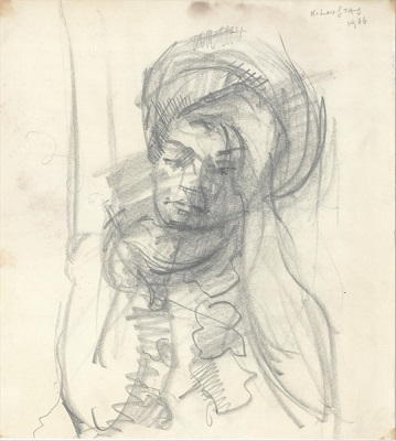 "The artist's wife, 1966, pencil on paper, 22x20cm (8.6""x7.8"")"