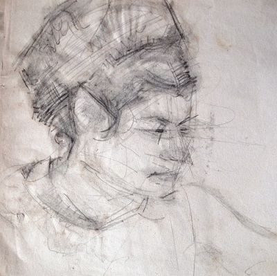 "The artist's wife, 1966, pencil on paper, 22x22cm (8.6""x8.6"")"