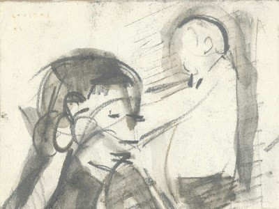 "The coffee shop, 1969, pencil on paper, 9x11cm (3.5""x4.3"")"