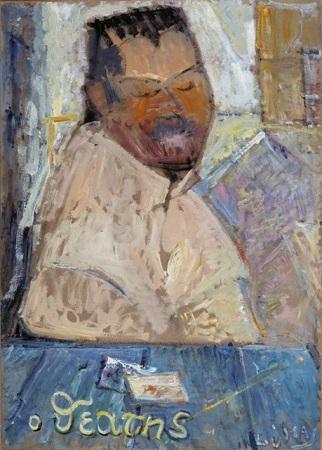 "The spectator, 1983, oil on panel, 70x50cm (27.5""x19.6"")"