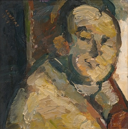 "The violinist, 1964, oil on panel, 29x28cm (11.4""x11"")"