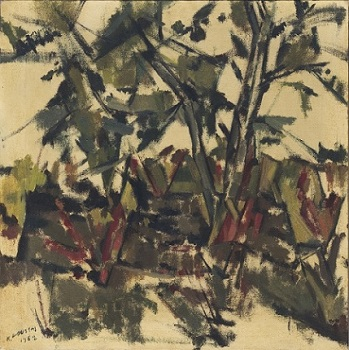 """Landscape with trees, 1962 oil on canvas, 50x50cm (19.6""""x19.6""""), Teloglion Foundation of Arts"""