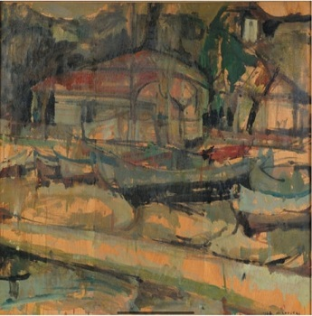"""View of Aretsou, 1965, oil on panel, 81x80cm (31.8""""x31.4"""")"""