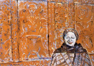 "Alki Kyriakidou-Nestoros, Professor of Philosophy-Ethnologist, 1992, oil on panel, 122x185cm (48""x72.8"")"