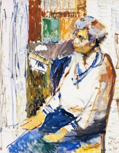"""Anastasia Vafopoulou, Professor of English, 1991, oil on panel, 120x100cm (47.2""""x39.3"""")"""