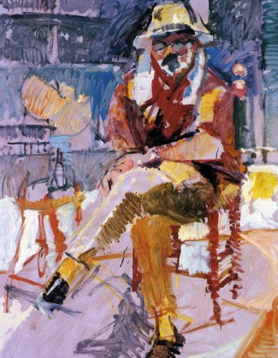 "Christos Bakalakos, Philologist, 1993, oil on panel, 165x122cm (64.9""x48"")"