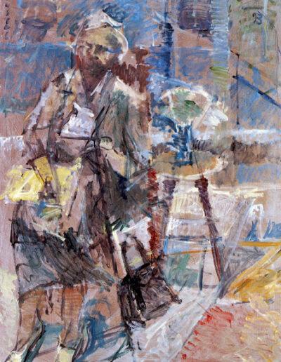 "Chrysanthi Zitsea, Poet, 1993, oil on panel, 165x122cm (64.9""x48"")"