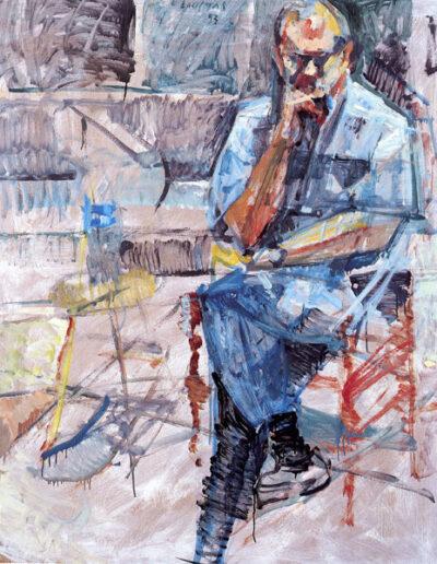 "Dimitris Dimitriadis, Writer, 1993, oil on panel, 153x122cm (60.2""x48"")"