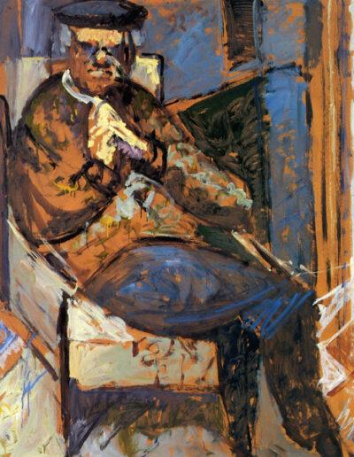 "Dimitris Lypourlis, Professor of Classics, 1992, oil on panel, 141x122cm (55.5""x48"")"