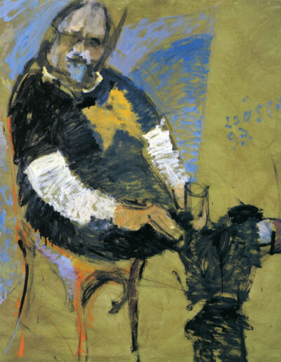 """Dionisis Savvopoulos, Composer, 1993, oil on panel, 153x122cm (60.2""""x48"""")"""