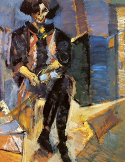 "Efthymia Georgiadou-Kountoura, Professor of Art History, 1993, oil on panel, 153x122cm (60.2""x48"")"