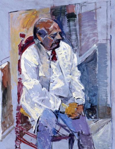 """George Stoyannidis, Poet, 1992, oil on panel, 141x122cm (55.5""""x48"""")"""