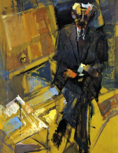 "Ioannis Xirotiris, Professor of Sociology, 1993, oil on panel, 170x122cm (66.9""x48"")"