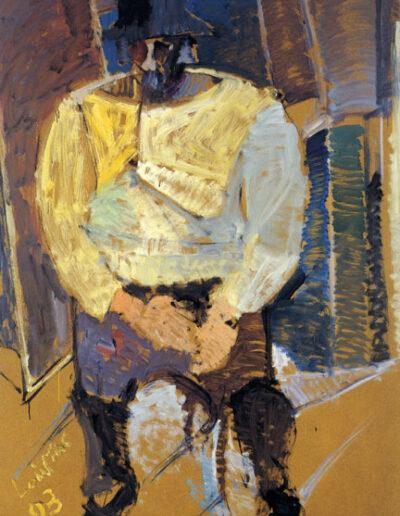 "Karolos Tsizek, Painter-Writer, 1993, oil on panel, 169x122cm (66.5""x48"")"