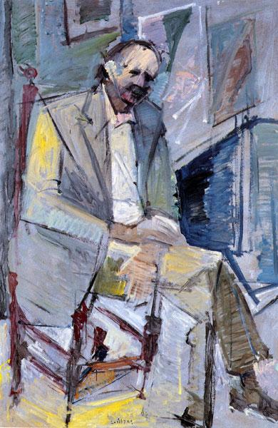 """Kletos Kyrou, Poet, 1992, oil on panel, 189x122cm (74.4""""x48"""")"""
