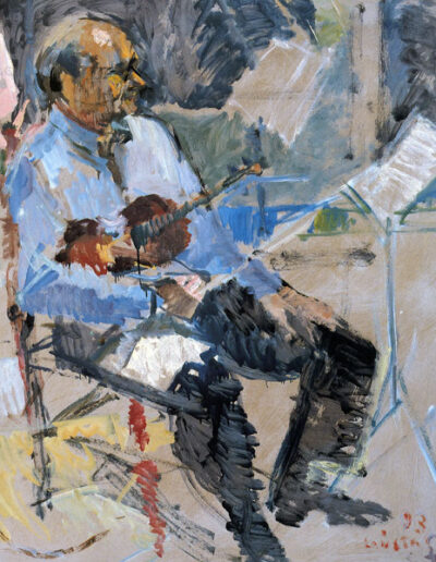 "Kosmas Galileas, Violinist, 1993, oil on panel, 141x122cm (55.5""x48"")"