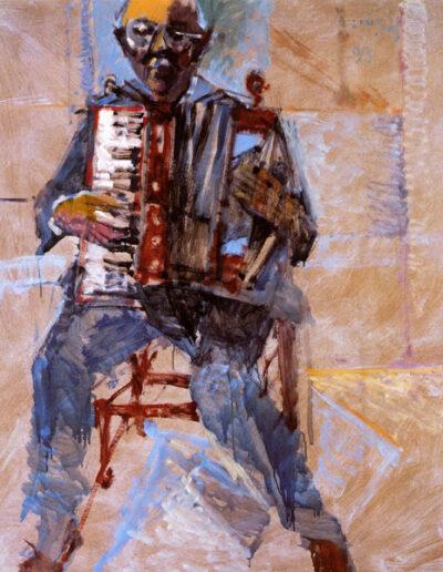 "Kostas Karanikas, Musician-Singer, 1993, oil on panel, 145x122cm (57""x48"")"
