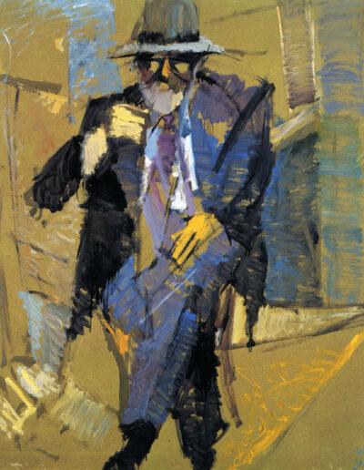 """Kostas Lahas, Painter-Writer, 1993, oil on panel, 135x122cm (53.1""""x48"""")"""