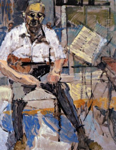 """Kostas Vamvas, Violinist, 1993, oil on panel, 141x122cm (55.5""""x48"""")"""