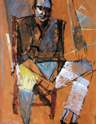 "Kostis Moskov, Writer-Historian, 1992, oil on panel, 165x122cm (64.9""x48"")"