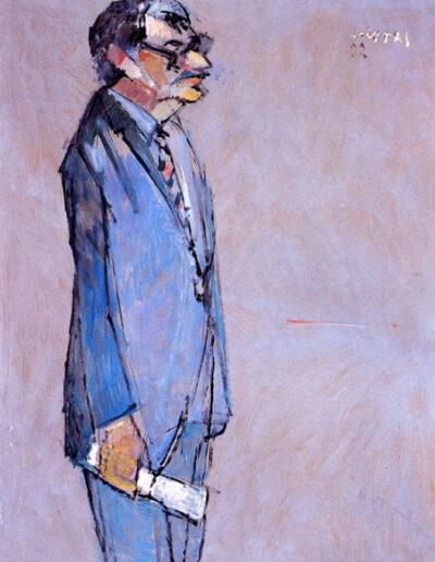 "Manolis Anagnostakis, Poet, 1992, oil on panel, 165x122cm (64.9""x48"")"