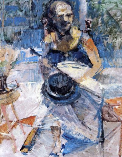"Mary Soidou, Singer-Theatre Director, 1993, oil on panel, 140x122cm (55.1""x48"")"