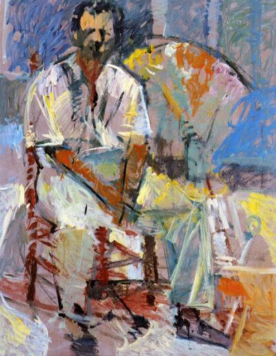 "Miltos Papanikolaou, Professor of Art History, 1993, oil on panel, 160x122cm (62.9""x48"")"