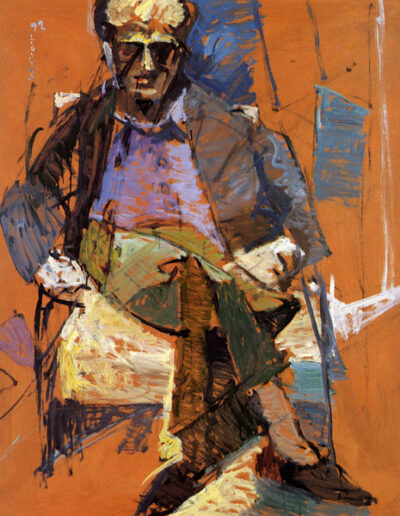 "Nikiforos Papandreou, Professor of Theatre Studies, 1992, oil on panel, 141x122cm (55.5""x48"")"