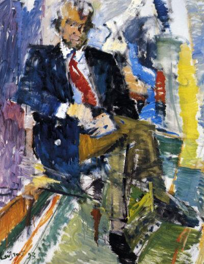 "Nikos Pantazopoulos, Professor of Law, 1993, oil on panel, 153x122cm (60.2""x48"")"