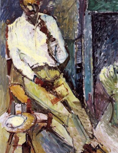 "Panos Thasitis, Poet, 1991, oil on panel, 176x122cm (69.2""x48"")"