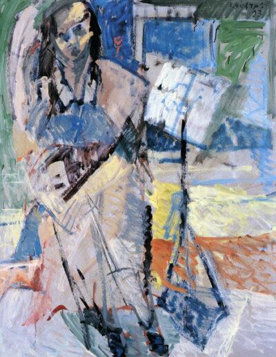 "Roula Pateraki, Actress-Theatre Director, 1993, oil on panel, 153x122cm (60.2""x48"")"