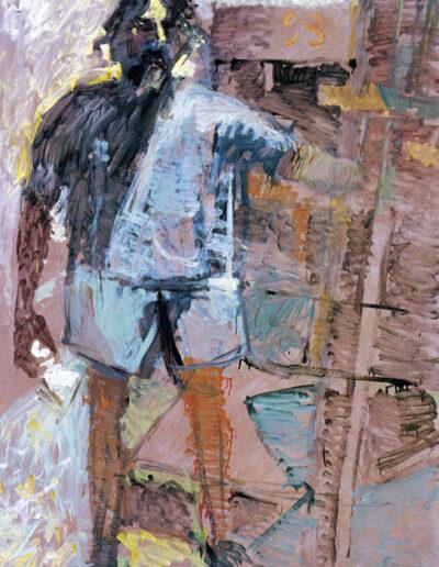 "Self-portrait, 1993, oil on panel, 165x122cm (64.9""x48"")"