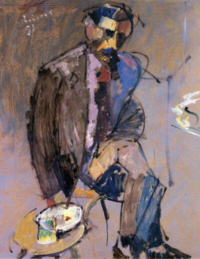 """Sotirakis Loustas, Writer, 1991, oil on panel, 131x120cm (51.5""""x47.2"""")"""