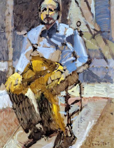 """Sotirakis Tsoukalis, Art Collector, 1992, oil on panel, 161x122cm (63.3""""x48"""")"""