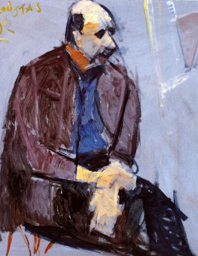 """Telemachos Alaveras, Writer-Publisher, 1992, oil on panel, 122x114cm (48""""x44.8"""")"""