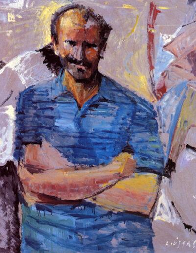 """Tolis Kazantzis, Writer, 1992, oil on panel, 123x110cm (48.4""""x43.3"""")"""
