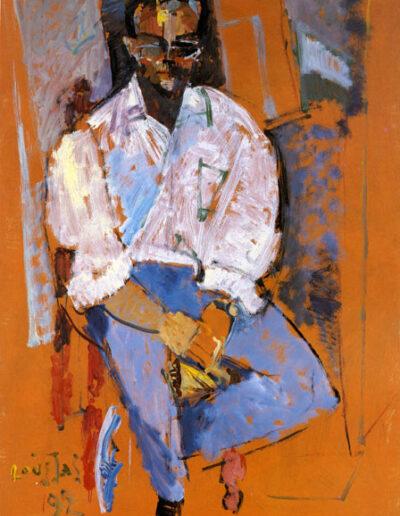 "Yiannis Vakarelis, Pianist, 1992, oil on panel, 165x122cm (64.9""x48"")"